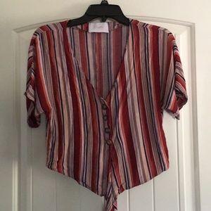 Blush striped crop tie top